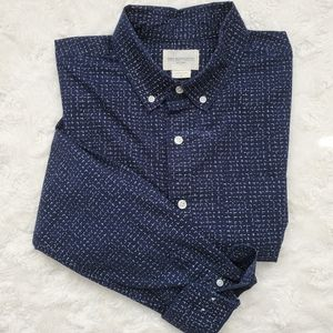 Obey Navy Button Down Shirt in Size Medium